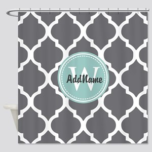 Gray Grey Mint Quatrefoil Monogram Shower Curtain